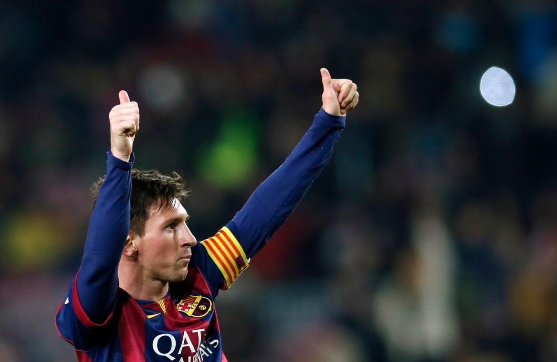 Messi slavi pogodak protiv Elchea tokom utakmice španskog Kupa kralja na stadionu Camp Nou u Barceloni 8. januara 2015. [Albert Gea/Reuters]