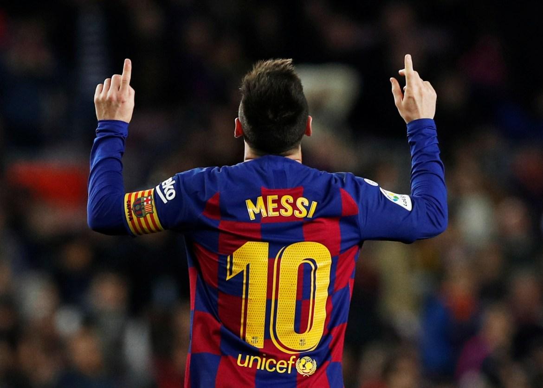 Messi slavi postizanje Barcinog petog gola te svog trećeg, odnosno hat-tricka protiv Mallorce 7. Decembra 2019. [Albert Gea/Reuters]