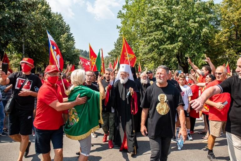 Skup Crnogoraca sa kojeg je poručeno da u Cetinju nije mjesto za ustoličenje mitropolita Srpske pravoslavne crkve Joanikija (Anadolija)