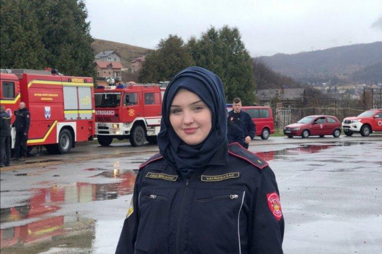 Hrabra i nasmijana djevojka članica je DVD Vogošća i s ponosom nosi hidžab (Ustupljeno Al Jazeeri)