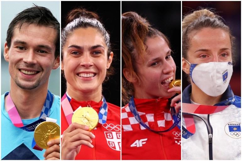 Neki od zlatnih olimpijaca iz regije: Primož Roglič (biciklizam/hronometar) - Slovenija, Milica Mandić (tekvondo) - Srbija, Matea Jelić (tekvondo) - Hrvatska, Distria Krasniqi (džudo) - Kosovo (EPA, Reuters)