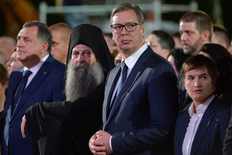 Porfirijeve riječi, kako su primijetili mnogi, bitno su odudarale od govora Aleksandra Vučića i Milorada Dodika (Tanjug/Rade Prelić)