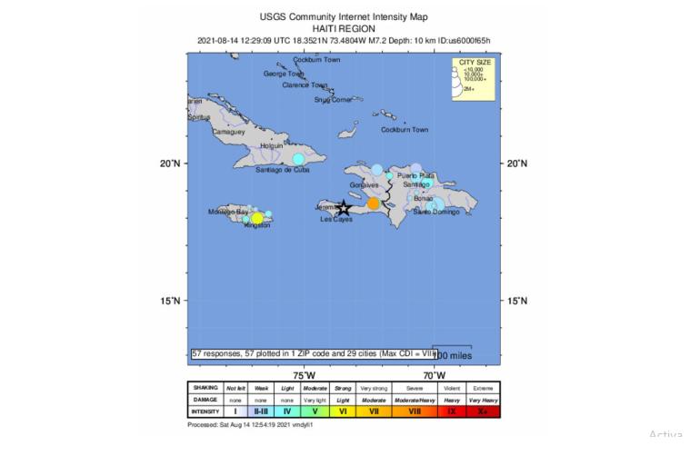 Epicentar je bio oko 160 kilometara udaljenosti cestom od Port-au-Princea (EPA)